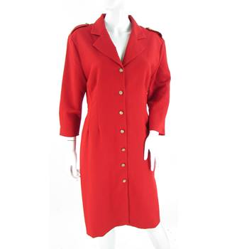 VINTAGE Dorothy Perkins - Size: 12  - Red - Shirt Dress