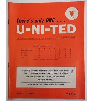 1974-75 There's Only One U-Ni-Ted, Volume 6, Number 1. Official Newsletter of the Manchester united supporters club