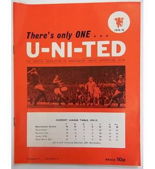 1974-75 There's Only One U-Ni-Ted, Volume 6, Number 2. Official Newsletter of the Manchester united supporters club