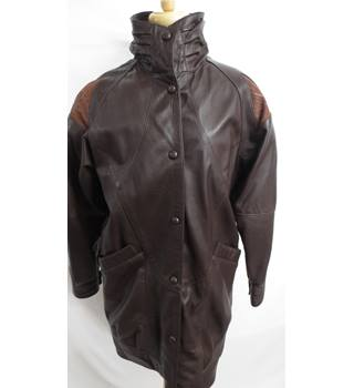 Chantel Leather brown womens Coat Size Small Chantel - Size: S - Brown - Casual jacket / coat