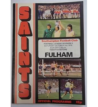 Southampton v Fulham. 2nd October 1976