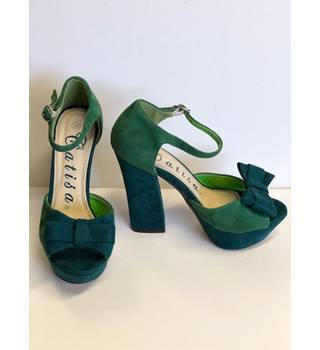 Catisa Chunky Heel Ankle Strap Green Heels Size 36 ( UK 3 )