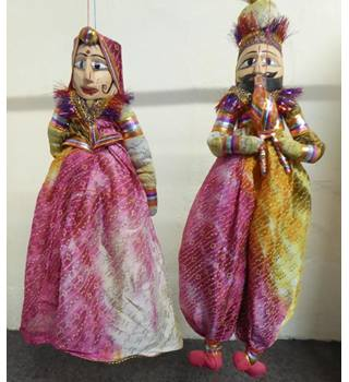 Pair of Rajasthani puppet dolls Hand made