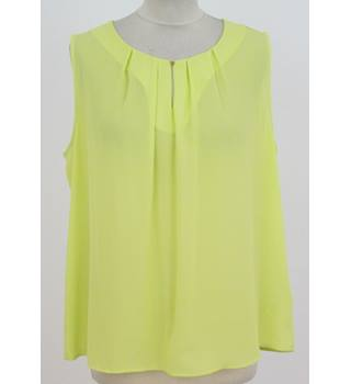 NWOT M&S Collection - Size: 14 - Lime Yellow - Sleeveless round neck gold button key hole top