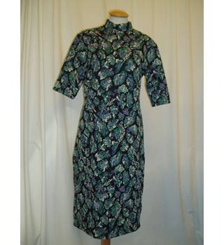 NWOT M&S Limited Edition Size 12 Black with abstract blue and green floral design pencil dress