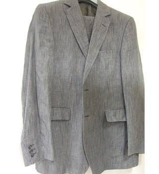 "Genuine Tiger of Sweden Grey 'broken pinstripe' Two-Button Single-Breasted ""Tenny KB"" Linen Suit"