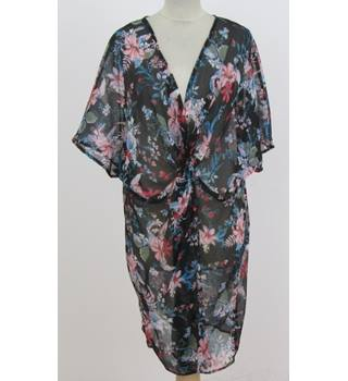 NWOT M&S Collection - Size: L - Black with Pink and Blue Based Floral Kaftan Beachwear
