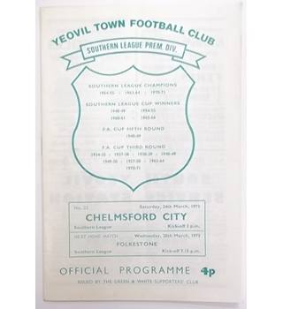 Yeovil Town v Chelmsford City. 24th March 1973. Southern League