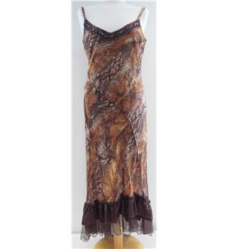 Per Una - Size: 10 - Brown Patterned - Long dress