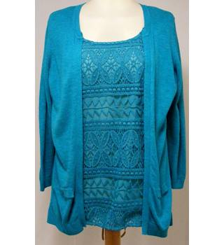 Per Una - Size: 10 - Green - Top with Cardigan