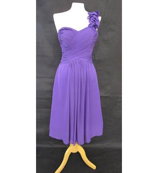 Lace up back - pleated breast - Unbranded - Size: 16 - Purple - Asymmetrical dress