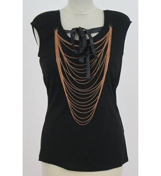 Ted Baker: Size 10: Black t-Shirt with gold chains