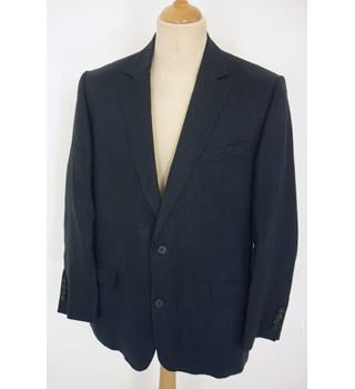 "Jaeger Size: L, 44"" chest, tailored fit Dark Navy Blue Casual/Stylish Linen Designer Single Breasted Jacket"