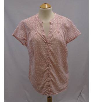 Boden - Size 12 - Pink & White Spots - Short Sleeved Cotton Shirt