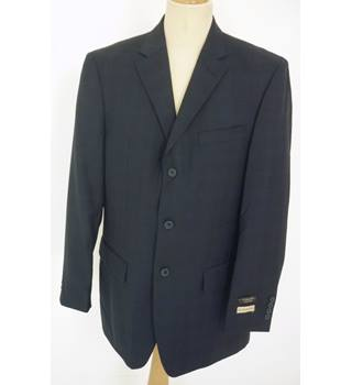 "BNWoT Cosani Size: L, 42"" chest, regular fit Navy Blue Medium Check Smart/Stylish Wool Designer Single Breasted Jacket"