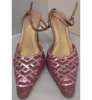 Barratts, size 7 pink beaded & sequinned evening shoes