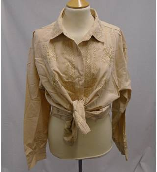 Vintage 70s - Size L* - Beige Cotton Embroidered Shirt
