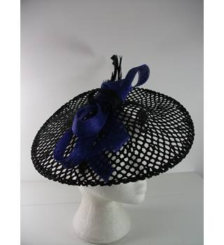 Marks & Spencer Black Open Weave Disc Fascinator with Colbalt Blue/Black Bow and Black Feather
