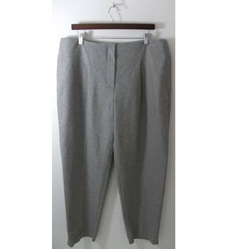 Marks & Spencer Autograph Grey Wool Straight Leg Trousers UK Size 18 / Euro Size 46