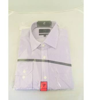 Brand New M&S Lilac/White Pinstriped Long Sleeve Shirt- Size: L