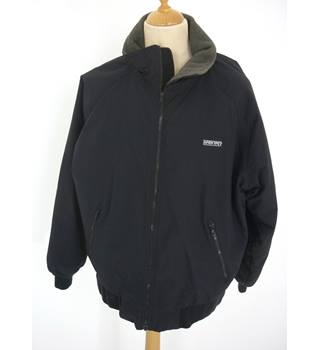 "Lands' End Size: L, 42"" chest Dark Navy Blue Casual/Outdoor Nylon Blouson Jacket With Fleecy Pile ""Polartec 200"" Lining"
