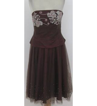 Monsoon - Size: 16 - Burgundy with Silver Bead Detailing Two Part Dress