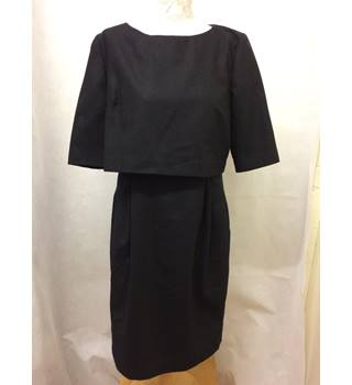 Great Plains London - Size: L - Black, wool knee length dress