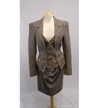 Vivienne Westwood Red Label - Size 42 - Brown/Gold Metallic Thread Suit: Jacket, Skirt, Trousers