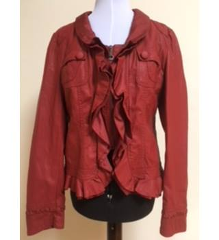 Izabel Red Leather Look Jacket - Size: M - Red - Jacket