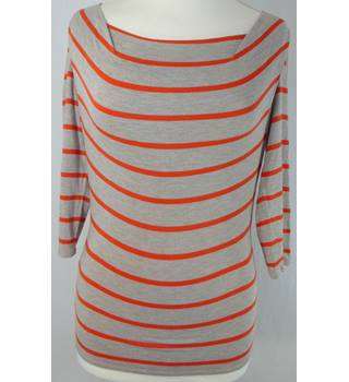 "Phase Eight - Size: 8 (32"" bust) - Grey and red horizontal stripes - Ladies' T-Shirt"