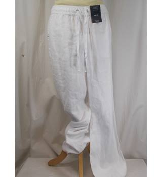 M&S Collection - Size 10 Long - Wide Leg White Trousers