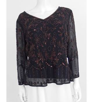 Jacques Vert Size: 16 Deep Brown Hand Beaded Blouse