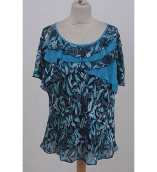 Jacques Vert - Size: 22 - Navy Blue Turquoise and Green Top