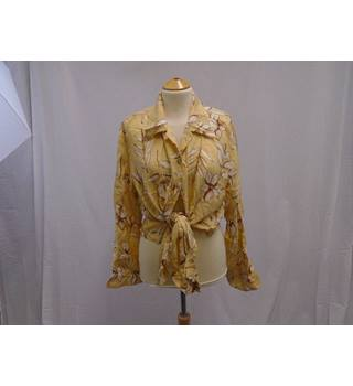 Vintage c80s - St Michael - Size 16 - Yellow Brown Floral Shirt