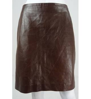 Ralph Lauren Size: 8 Brown 100% Leather Short A-Line Skirt