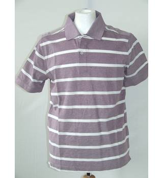 Massimo Dutti Mauve Striped Short Sleeve Polo / Tennis Style Shirt Size Medium Massimo Dutti - Size: M - Red - Short sleeved