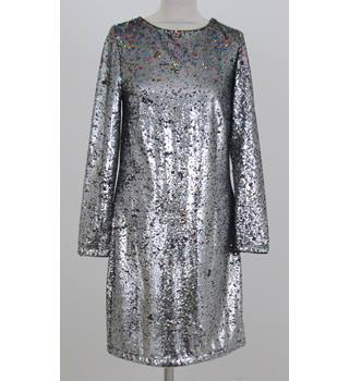 NWOT: M&S Collection: Size 10 Regular: Silver & black sequined shift dress