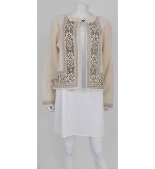 Fay Louise Size L Cream and Gold Embroidered Boiled Wool Cardigan