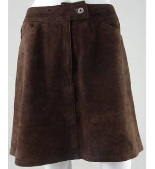 Dolce & Gabbana Size 12 Brown Suede Mini Skirt