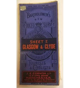 Bartholomew's Sheet 7, Glasgow & Clyde, for tourists and cyclists. Mounted on Cloth