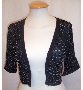 BNWT Coast Size S Black with Silver Pearl Embellished Cardigan