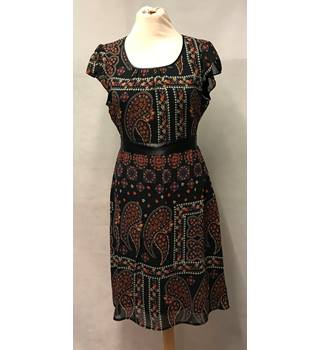 Mexx - Size: 14 - Black with Red, Cream and Blue Patterned Dress