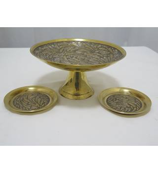 Solid Brass Indian Tazza and Two Matching Dishes