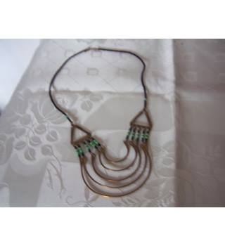 Tribal Brass & Black & Green Glass Beaded Necklace Unbranded - Size: Small - Multi-coloured - Necklace