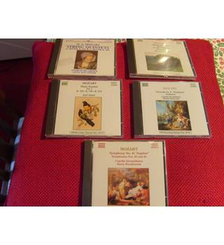 Five Mozart CDs String Quartets, Piano Sonatas, Symphonies 25,32 and 41, Serenade and Nocturne, Naxos and Hungaraton