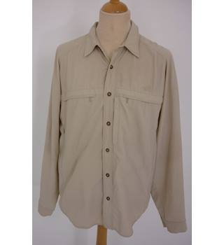 "The North Face  Size: L, 42"" chest,  16.5"" collar Khaki Brown Outdoor/Trail ""Summit Series"" Nylon & Spandex Long Sleeve Shirt"
