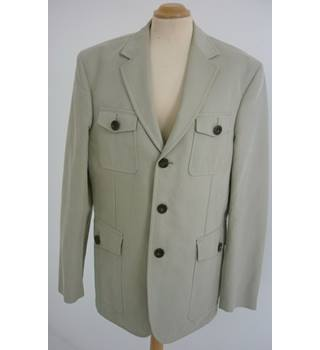 "Burberry London Size: M, 41"" chest, tailored fit Stone Grey Casual Cotton Safari Style Single Breasted Designer Jacket"