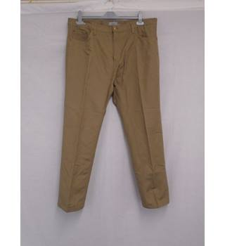 BNWT M&S Cotton Linen Brown Trousers - W38 L29