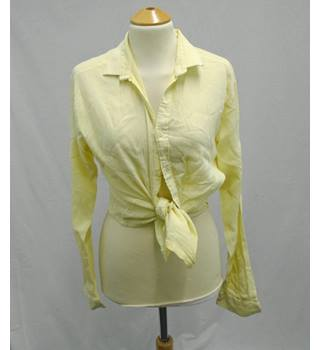 Vintage 80s JAM - Size 15* - Pale Yellow Ribbed Shirt Blouse