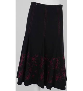 Coast Black Wool Calf-Length Skirt with Cerise Pink Stitching Detail Size 10